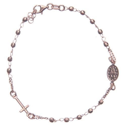 Pulsera rosario color rosado plata 925 2