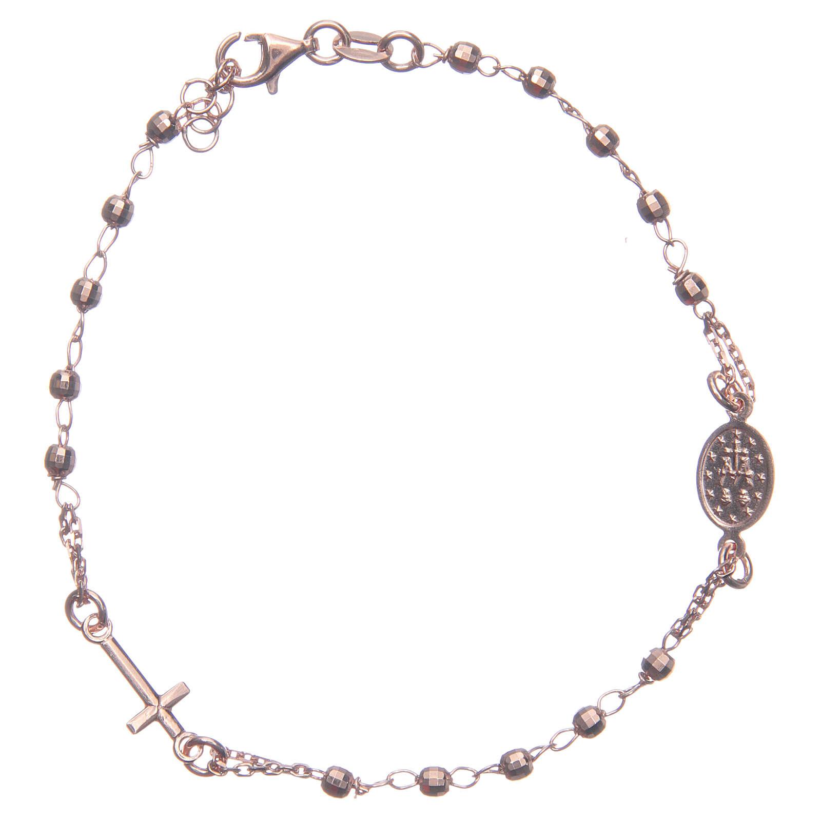 Bracciale rosario colore rosé argento 925 4