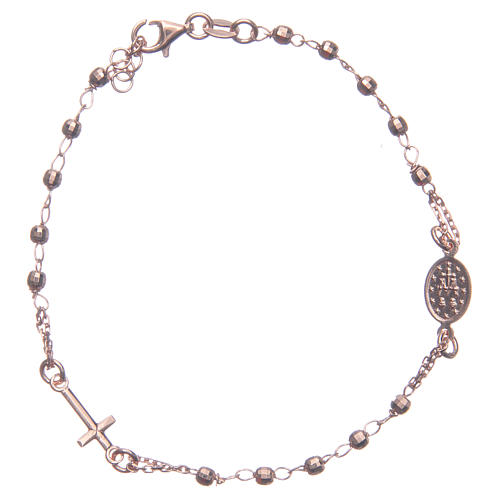 Bracciale rosario colore rosé argento 925 2