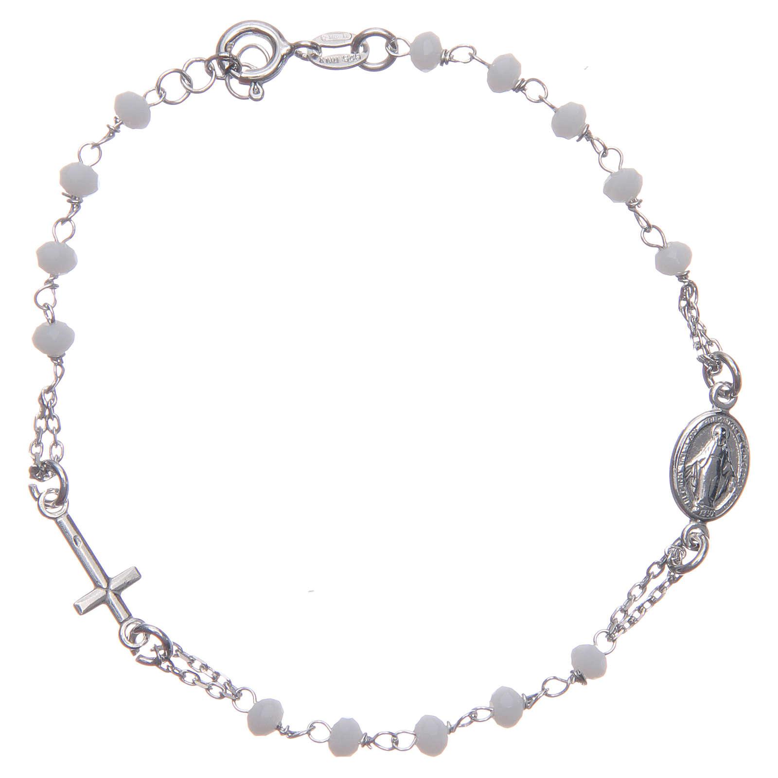 Pulsera rosario color blanco plata 925 4