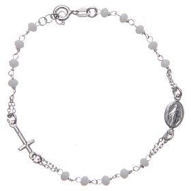 Pulsera rosario color blanco plata 925 s1
