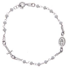 Pulsera rosario color blanco plata 925 s2