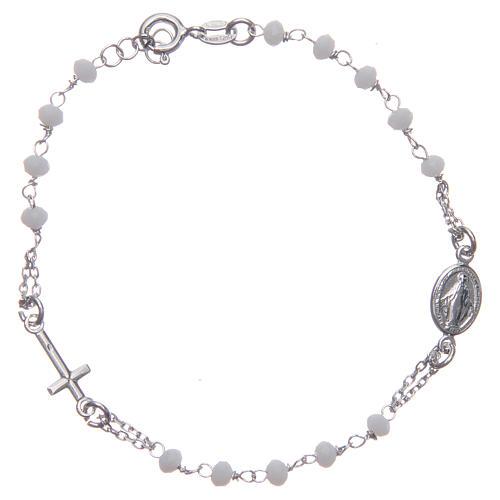 Pulsera rosario color blanco plata 925 1