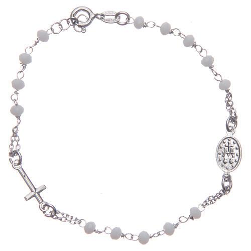 Pulsera rosario color blanco plata 925 2