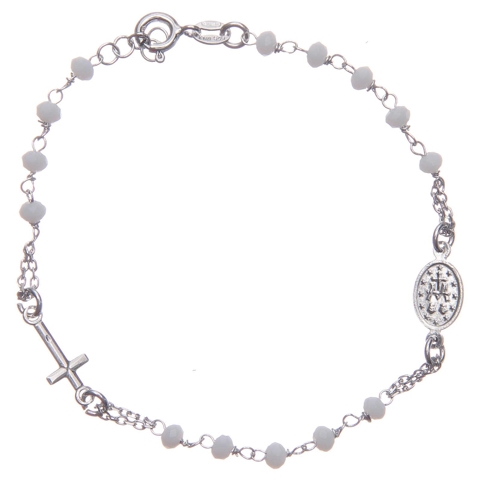 Bracciale rosario colore bianco argento 925 4