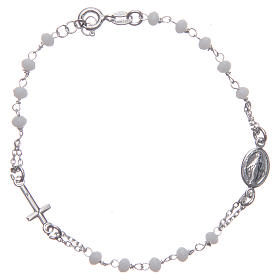 Bracciale rosario colore bianco argento 925 s1