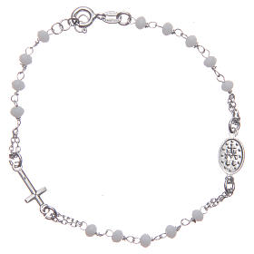 Bracciale rosario colore bianco argento 925 s2