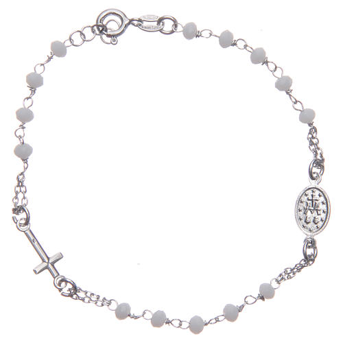Bracciale rosario colore bianco argento 925 2