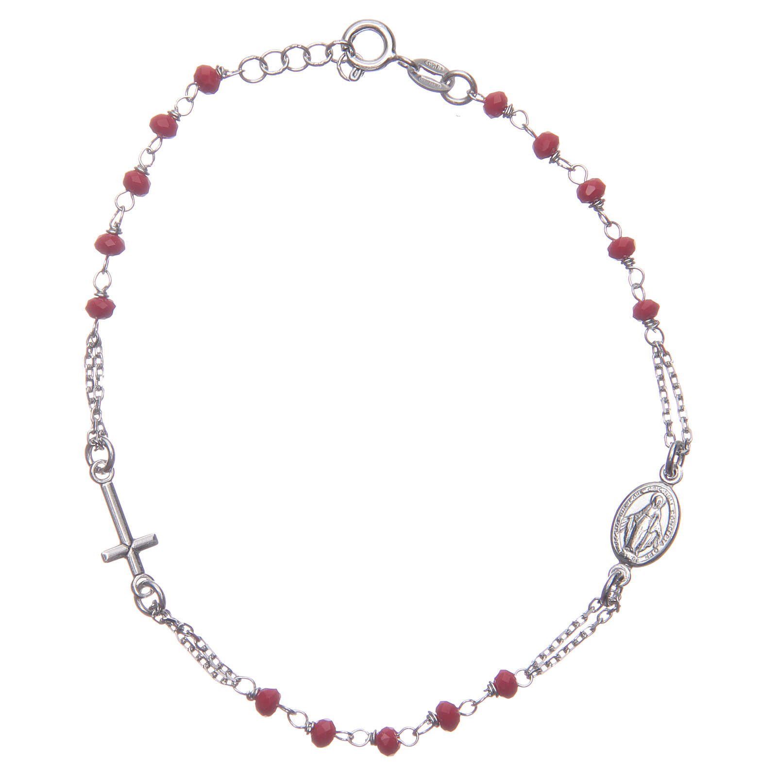Bracciale rosario colore rosso argento 925 4