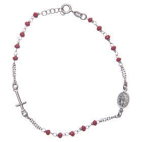 Bracciale rosario colore rosso argento 925 s2