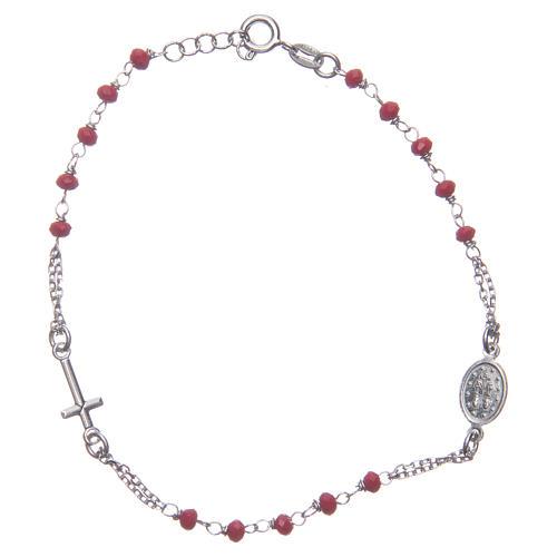 Bracciale rosario colore rosso argento 925 2