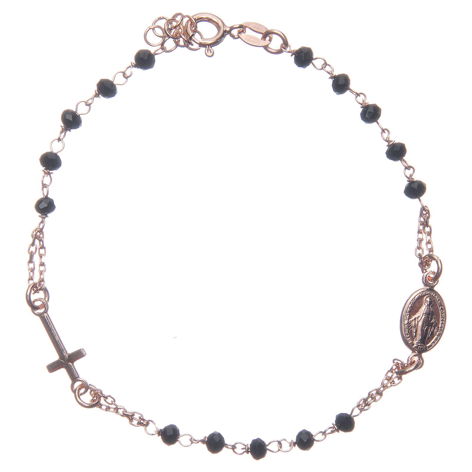 Bracciale rosario colore rosé e nero argento 925 4