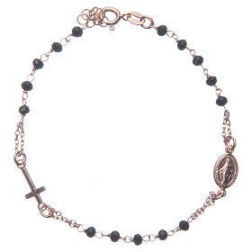 Bracciale rosario colore rosé e nero argento 925 s1