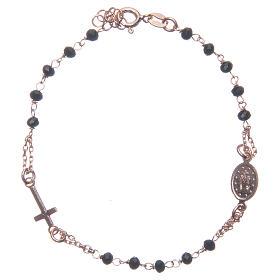 Bracciale rosario colore rosé e nero argento 925 s2