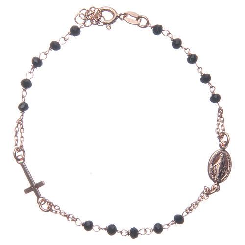Bracciale rosario colore rosé e nero argento 925 1