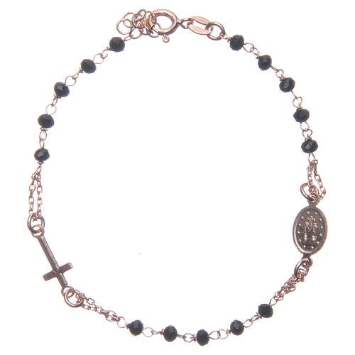 Bracciale rosario colore rosé e nero argento 925 2
