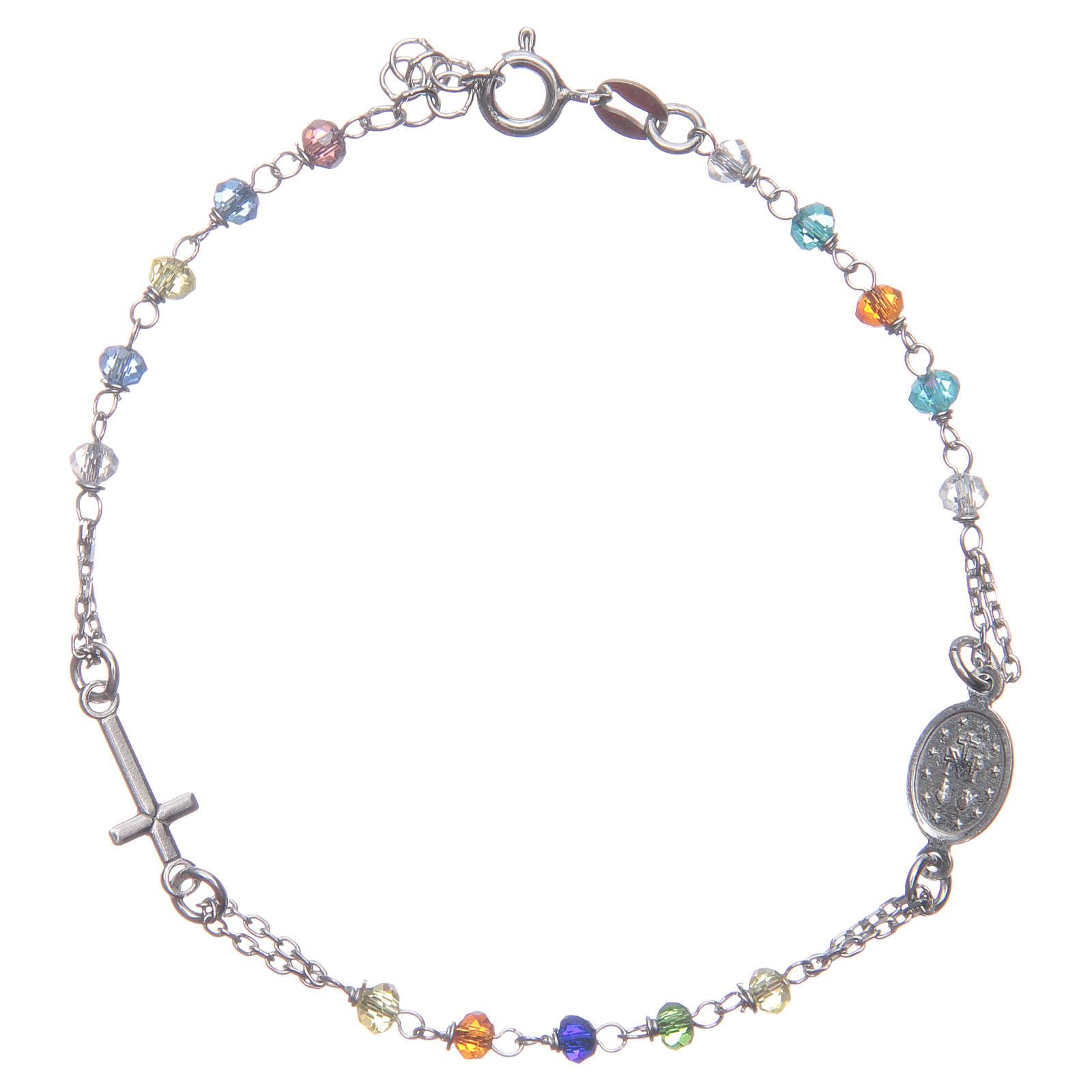 Bracciale rosario colore multicolor argento 925 4