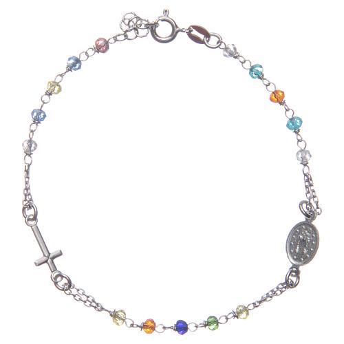 Bracciale rosario colore multicolor argento 925 2