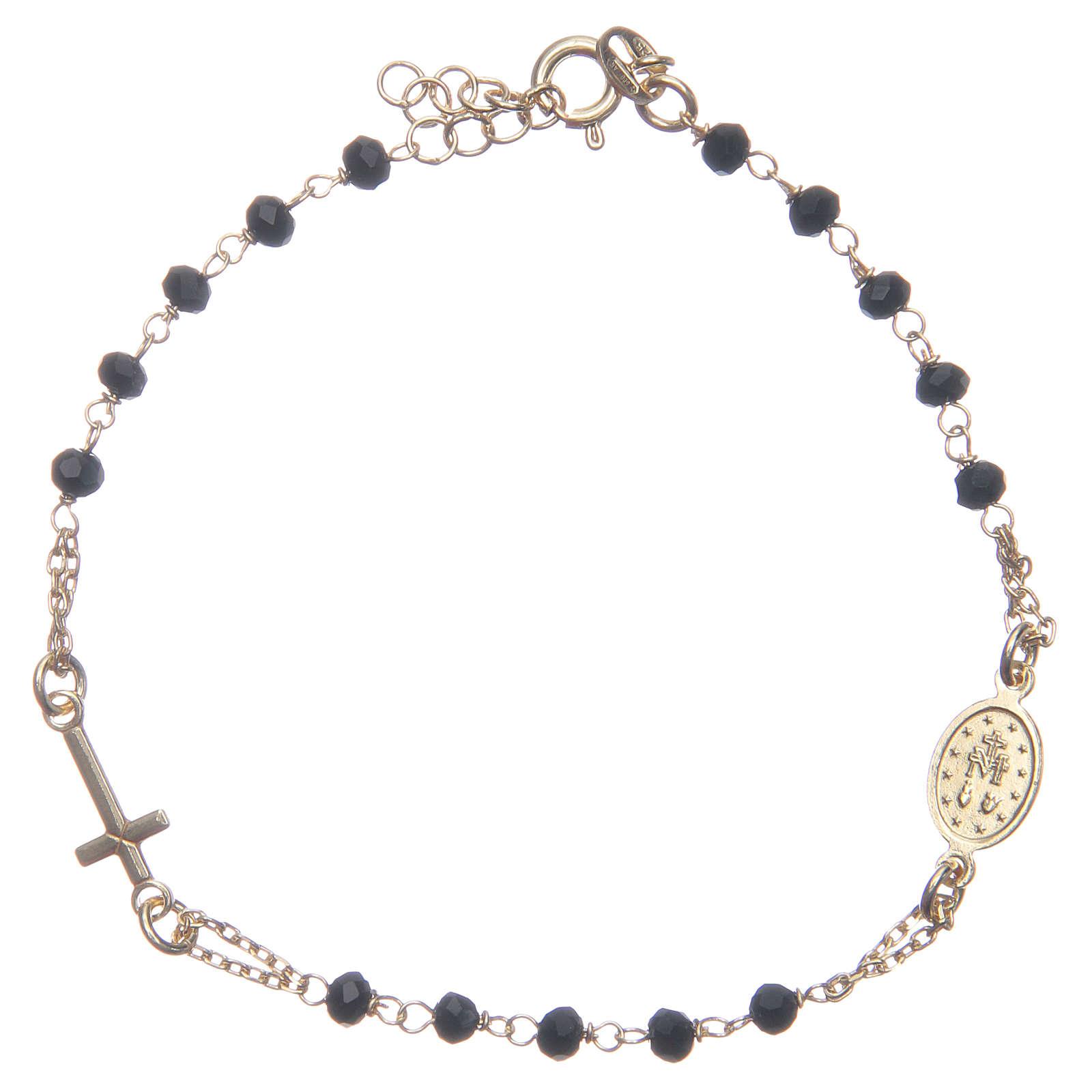 Bracciale rosario colore dorato nero argento 925 4