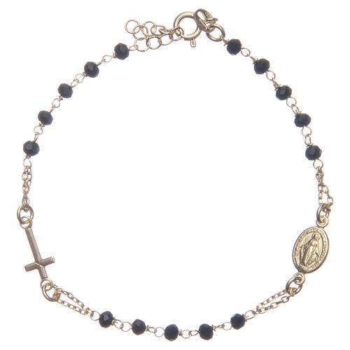 Bracciale rosario colore dorato nero argento 925 1