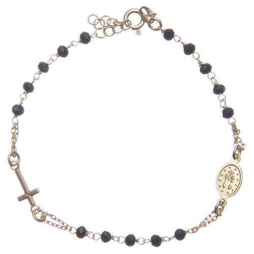 Bracciale rosario colore dorato nero argento 925 2