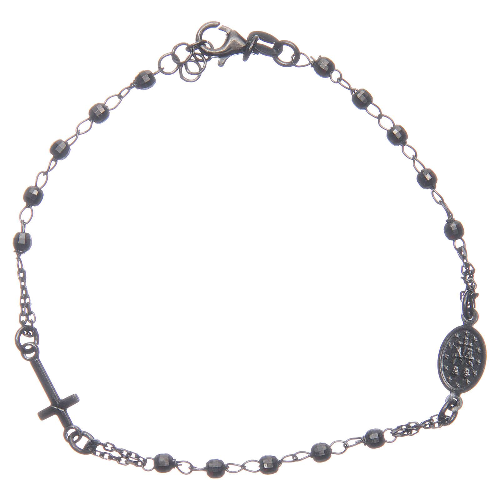 Rosary bracelet smokey grey 925 sterling silver 4