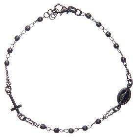 Rosary bracelet smokey grey 925 sterling silver s1