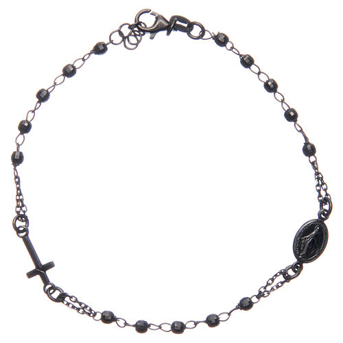 Rosary bracelet smokey grey 925 sterling silver 1