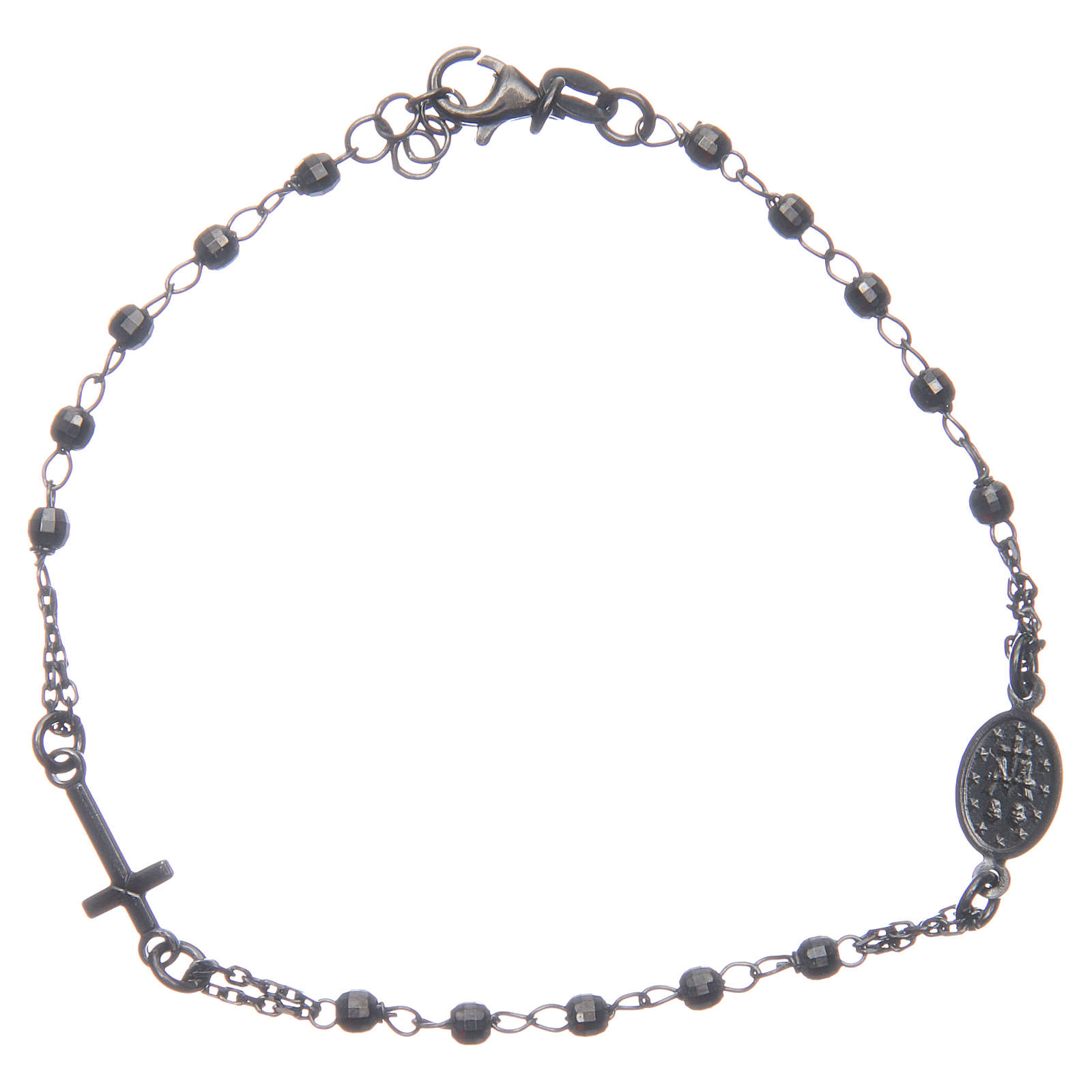 Bracciale rosario colore nero fumé argento 925 4