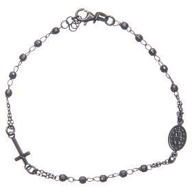 Bracciale rosario colore nero fumé argento 925 s2