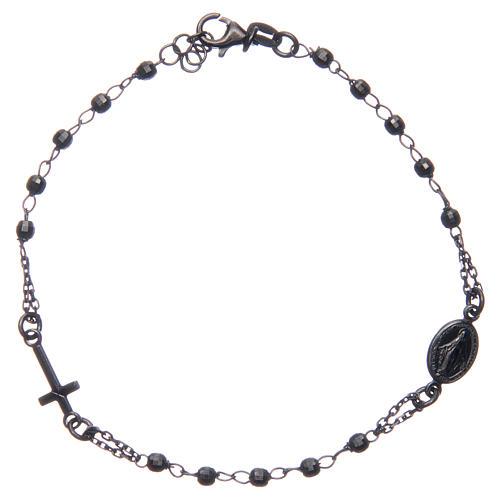 Bracciale rosario colore nero fumé argento 925 1