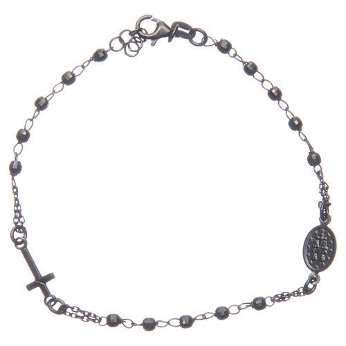 Bracciale rosario colore nero fumé argento 925 2