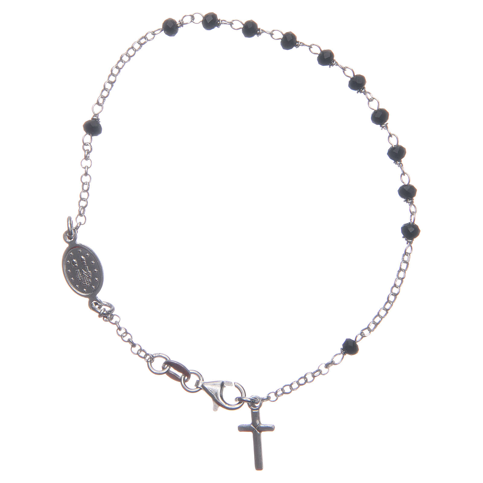 Rosary bracelet classical coloured in black and silver 925 sterling silver 4