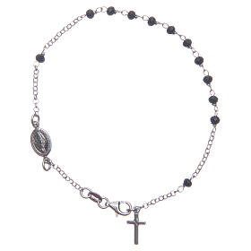 Rosary bracelet classical coloured in black and silver 925 sterling silver s1