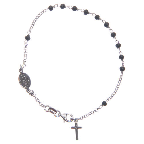Rosary bracelet classical coloured in black and silver 925 sterling silver 2