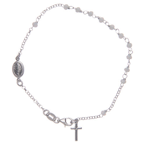 Bracciale rosario classico bianco argento 925 1