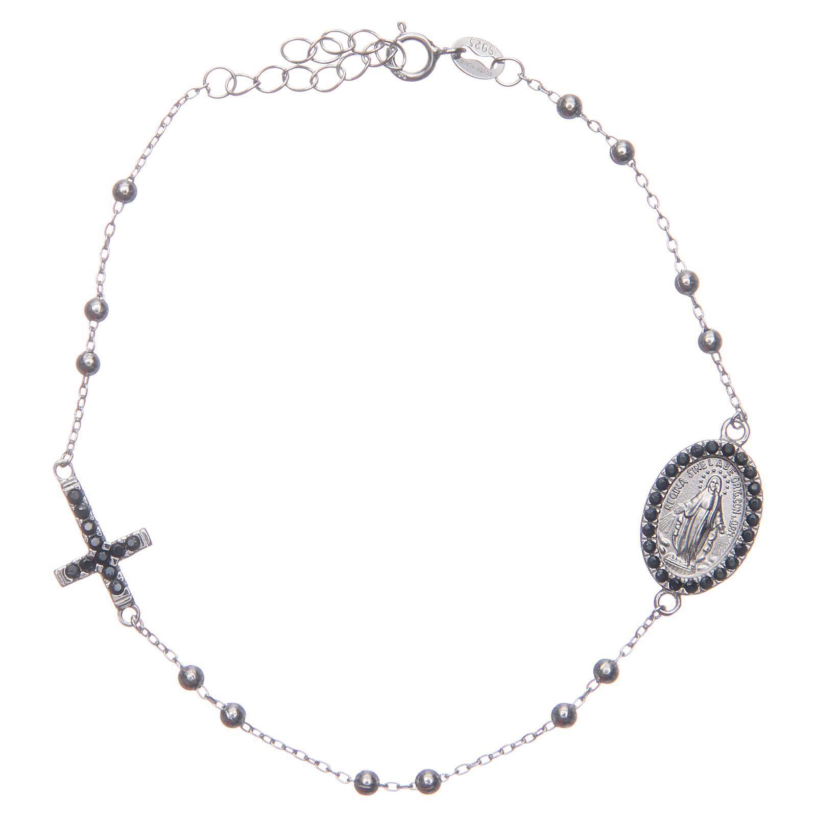 Bracciale rosario silver zirconi neri argento 925 4