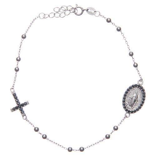 Bracciale rosario silver zirconi neri argento 925 1