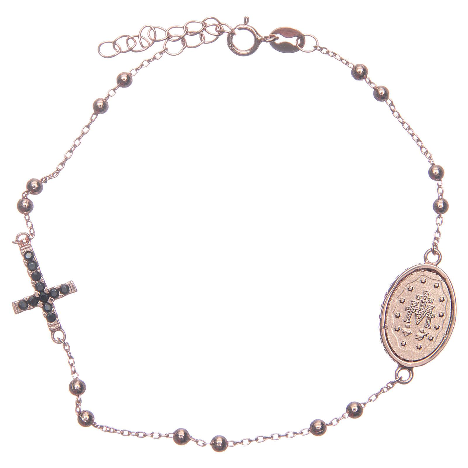 Bracciale rosario rosé zirconi neri argento 925 4
