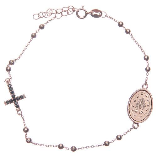 Bracciale rosario rosé zirconi neri argento 925 2