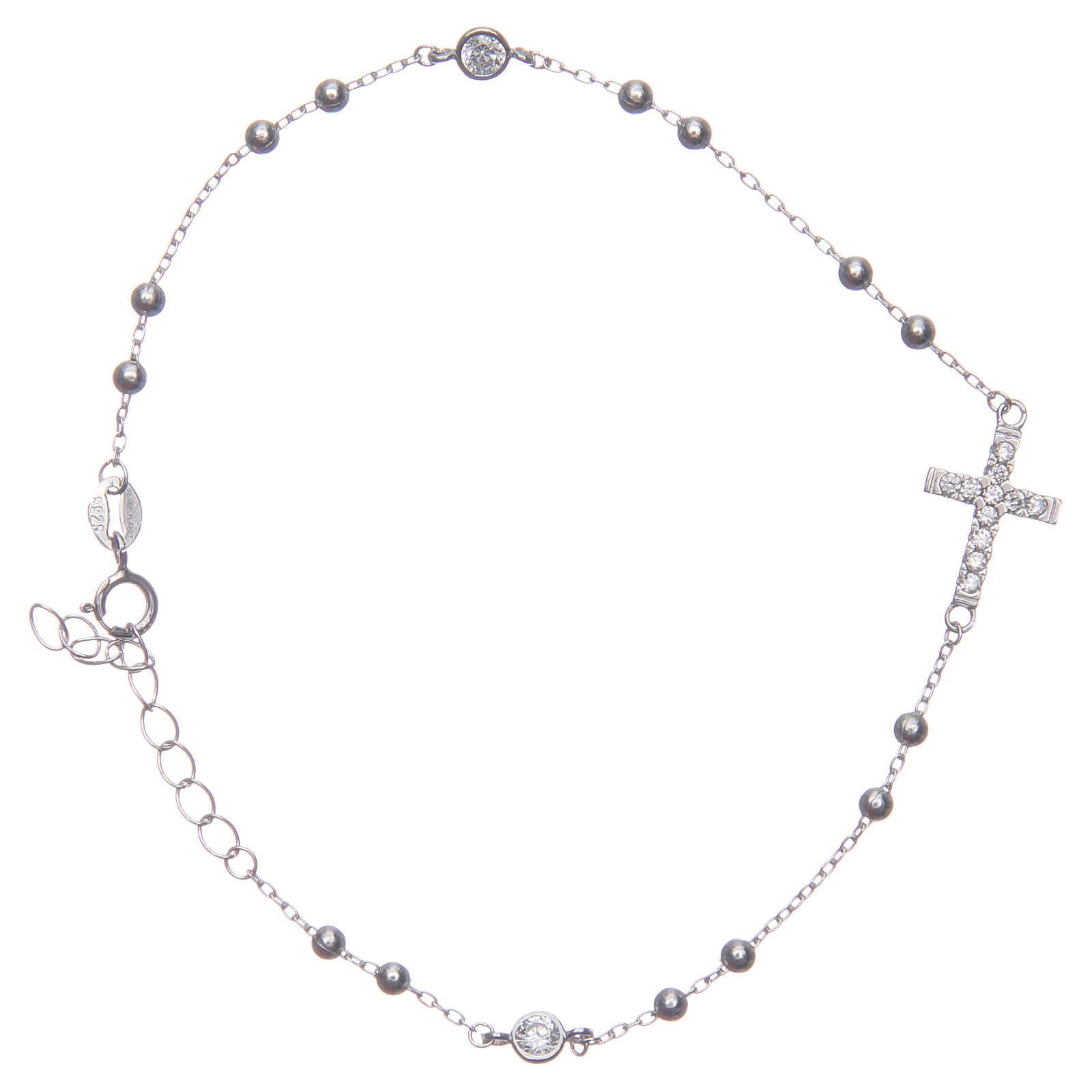 Bracciale rosario Santa Rita silver zirconi bianchi argento 925 4