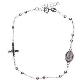 Dozen rosary bracelet Santa Zita silver with black zircons in 925 sterling silver s2