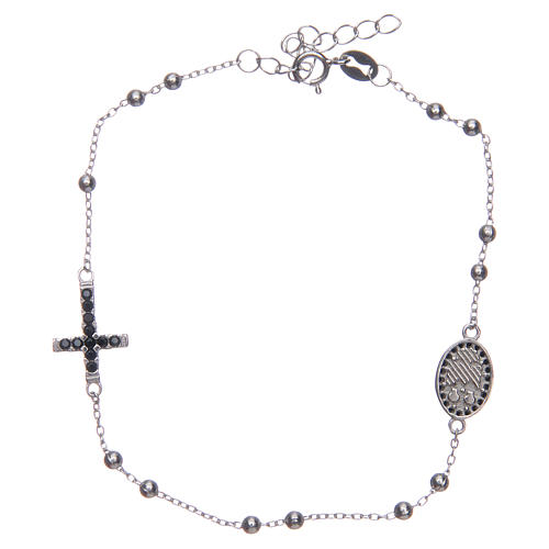 Dozen rosary bracelet Santa Zita silver with black zircons in 925 sterling silver 2