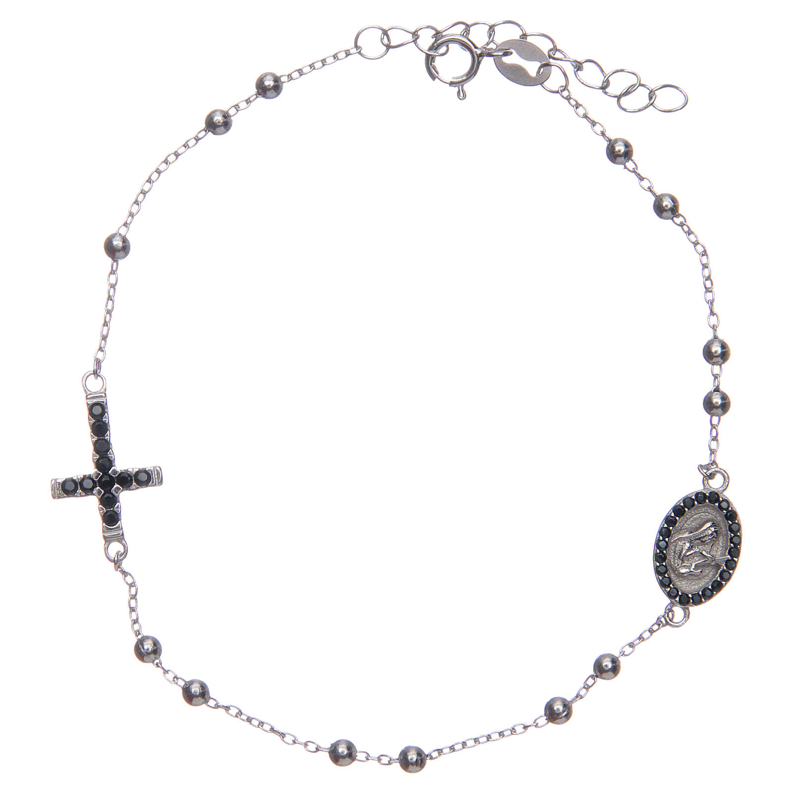 Braccialetto decina Santa Rita silver zirconi neri argento 925 4