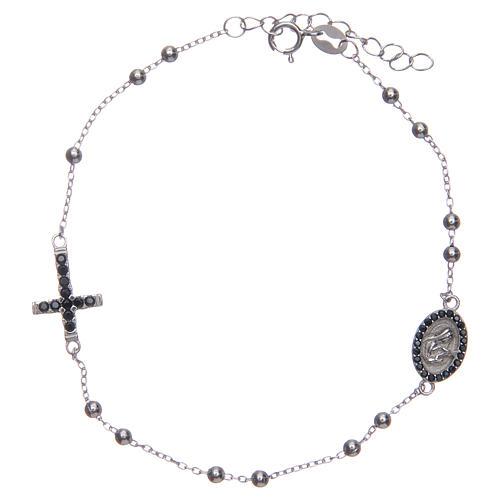 Braccialetto decina Santa Rita silver zirconi neri argento 925 1