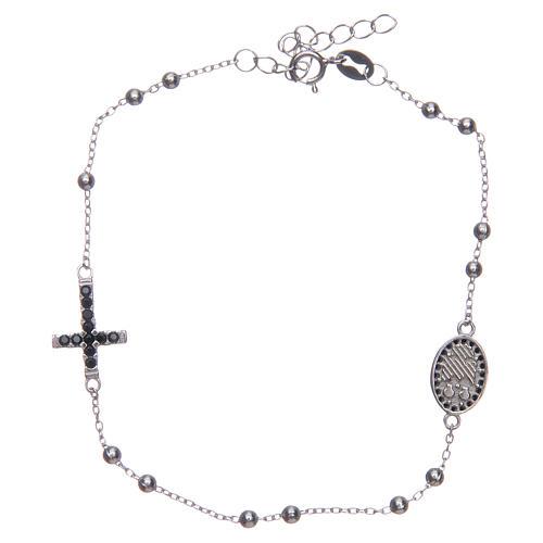 Braccialetto decina Santa Rita silver zirconi neri argento 925 2