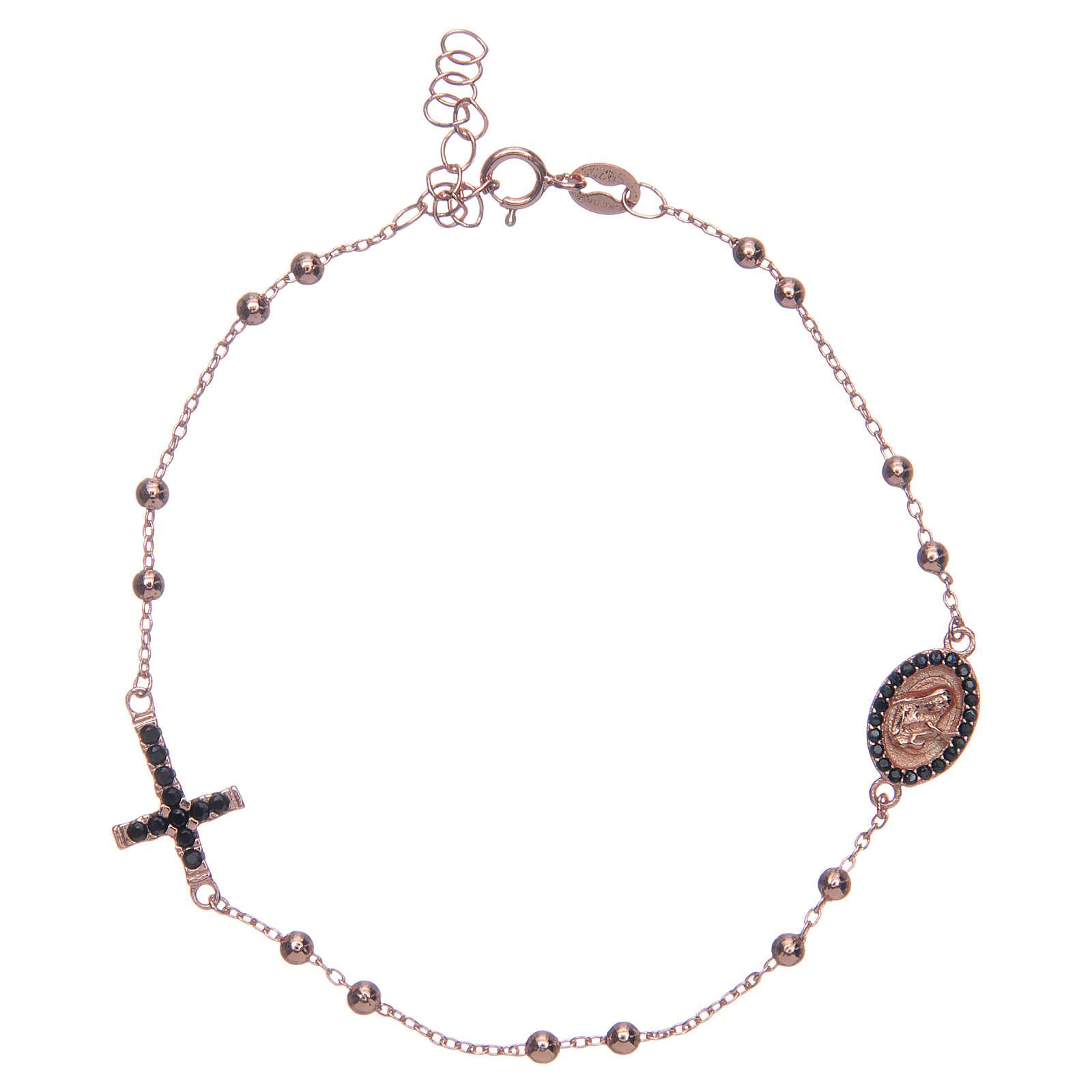 Bracciale rosario Santa Rita rosé zirconi neri argento 925 4