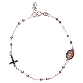 Bracciale rosario Santa Rita rosé zirconi neri argento 925 s1