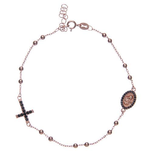 Bracciale rosario Santa Rita rosé zirconi neri argento 925 1
