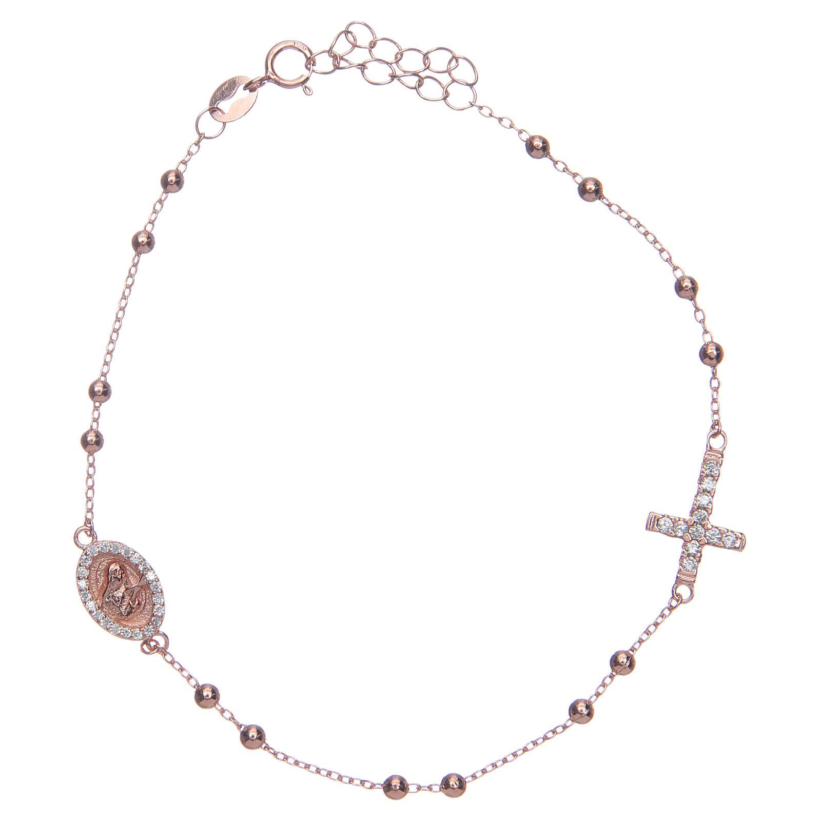 Bracciale rosario Santa Rita rosé zirconi bianchi argento 925 4